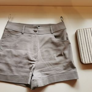 Gray high rise shorts and thirty one wallet